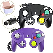 Poulep NGC Wired Controller for Wii Gamecube (Black + Purple)