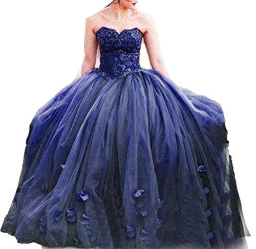 Quinceanera Da Blu Ballo Lace Spalline Abito Bd453 Senza Abiti Corpetto Scuro Da Sera Principessa Bessdress daRZd