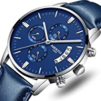 Men's Watches Luxury Casual Dress Chronograph Calendar Waterproof Military Quartz Wristwatches for Men with Leather Strap Blue