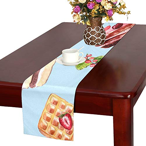 VNASKL Waffle Dessert Hand Drawn Food Table Runner, Kitchen Dining Table Runner 16 X 72 Inch for Dinner Parties, Events, Decor