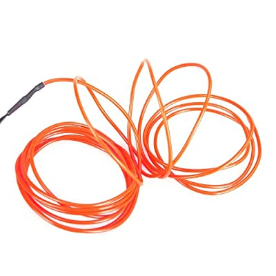 Anself 3M Flexible Ultra-thin Neon Light EL Wire Rope Tube + Controller Amazingly Bright New Generation of Micro LEDs for Indoor and Outdoor Use Great Decoration for Car, Party, Christmas Trees,Clubs Variety of Colors (Orange)