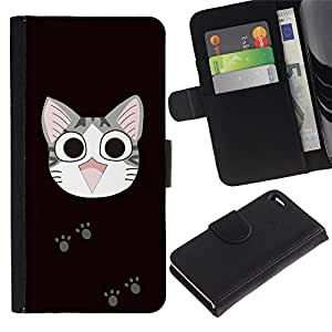 Ihec-Tech / Flip PU Cuero Cover Case para Apple Iphone 4 / 4S - Cute Japanese Happy Cat