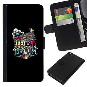 YiPhone /// Tirón de la caja Cartera de cuero con ranuras para tarjetas - Tipografía Salvaje - HTC DESIRE 816