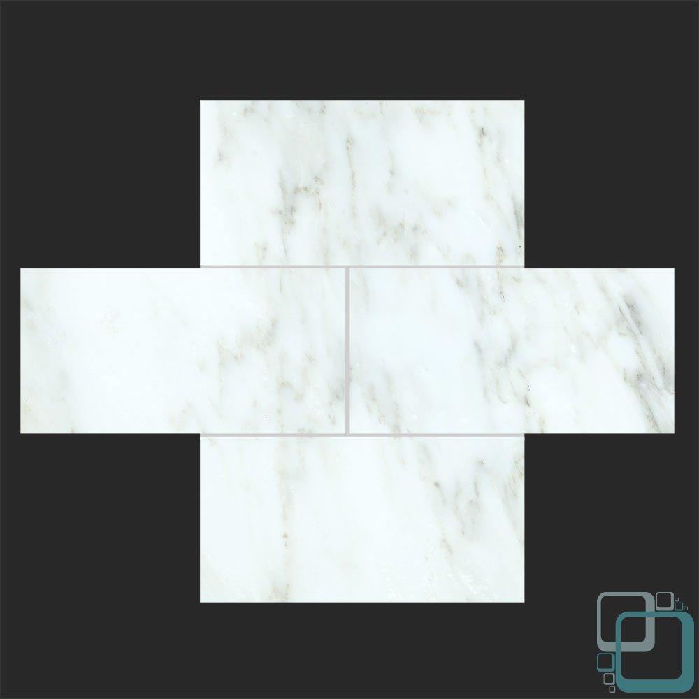 Arabescato Carrara 3x6 Honed Marble Subway Tile 3x6 Sample