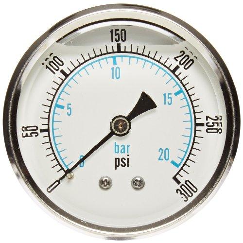 Axeon 200904 Back Mount Glycerin Filled Pressure Gauge, 0-300 PSI Measuring Range, 2-1/2-Inch Dial Display, 1/4-Inch MNPT Stem