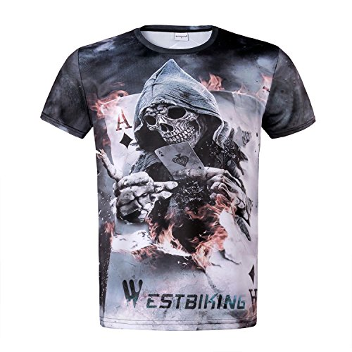 Yopoon Mens T-Shirt Screen Printed Short Sleeve Cool Skull Skeleton Bike Motorcycle (New England Patriots Team Mouse)