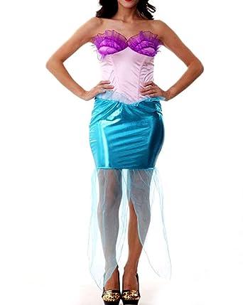 51324 plus size mermaid adult woman costume dress cosplay halloween blue 1x