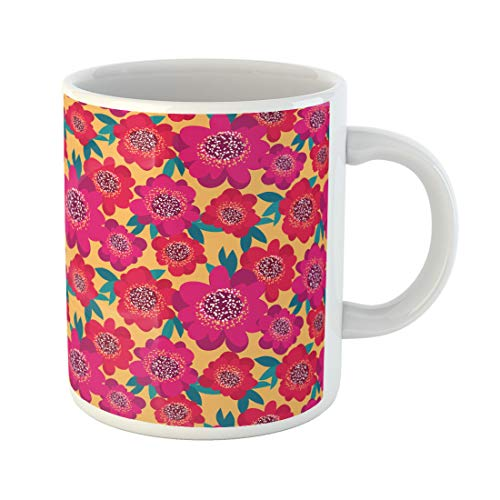 Semtomn Funny Coffee Mug Antique Bright Pink and Red Camellia Flowers Bad Bold 11 Oz Ceramic Coffee Mugs Tea Cup Best Gift Or Souvenir