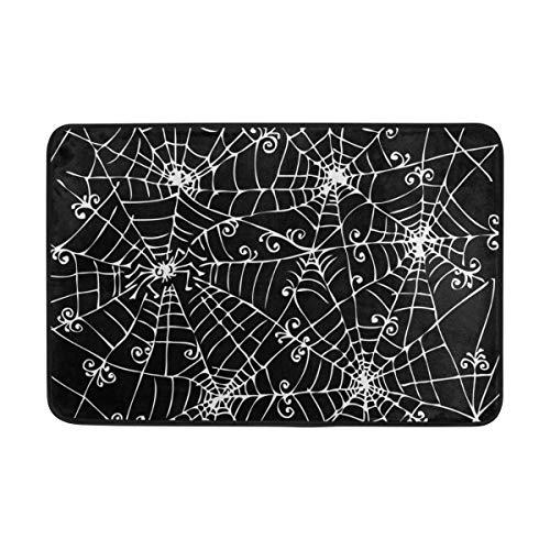Vintage Happy Halloween Spooky Spider Web DIY Non Slip Door Mat Outdoor Entry Way Door Mat Rug with Non Slip Backing Indoor Doormat for Kitchen,Bath,Pet, 24 x16 Inch -