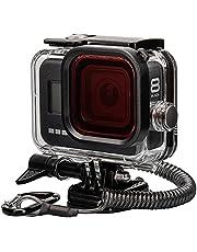 Lammcou Waterdichte beschermhoesset Compatibel met GoPro Hero 8, 60M onderwaterduikbehuizing Behuizing & rood filter & lanyard & anticondensblad & beugel voor Hero8