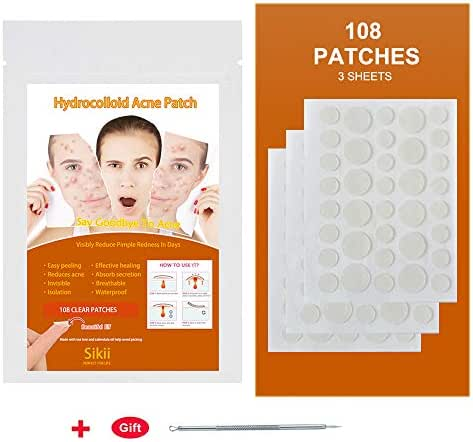 Hydrocolloid Acne Patch,Pimple Patch Absorbing Cover Blemish, Invisible Pimple Patch Healing Patch Clean and Clear Acne Spot Treatment,Two Sizes (36 Patches x 3)