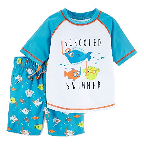 - Just One You Made by Carter's Toddler Boys Rash Guard & Swim Trunk Set - Schooled Swimmer Fish (6M)