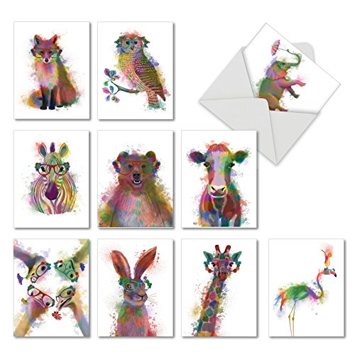 -   Funky Rainbow Wildlife - 10 Colorful Thank You Greeting Cards with Envelopes (4 x 5.12 Inch) - Watercolor Painted Animals, Appreciation Note Card Set for Kids - Gratitude Stationery AM4948TYG-B1x10