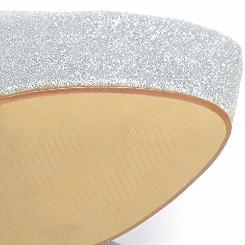 Piattaforma Stiletto Scarpe Nuove Glitter Tacco Alto 8 Donna Argento 3 Taglia qB5waxAEw