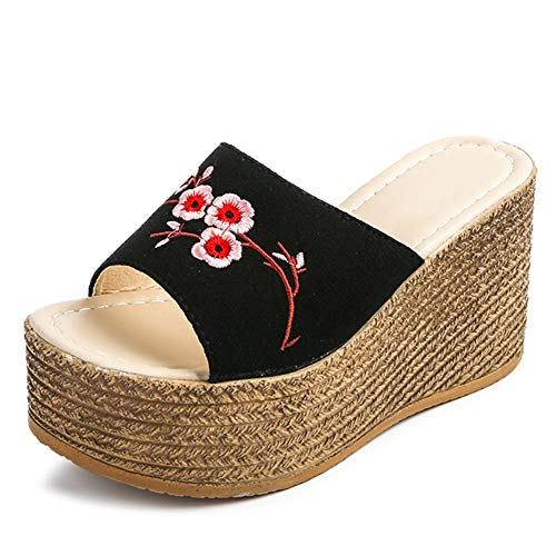 Womens Wedge Slides Sandals Thick Bottom Single Band Platform Embroidery Flower Rubber Sole Beach Footwears Black
