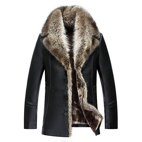 TEERFU Mens Luxury Winter Fur Collar Sheep Leather Long C...