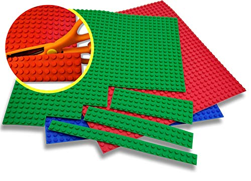 Kukulu Flexible Peel and Stick Block Tape Baseplates, Self-Adhesive, Lego Compatible, Food-Grade Silicone, Cuttable, Reusable, 3 pk: Red, Green, Blue 10in x 10in Sheets