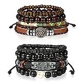 Cupimatch 8 Pcs Wrap Leather Wristbands Bracelets, Wood Beads Bracelets for Men Women Adjustable7-11
