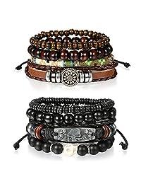 8 Pcs Wrap Leather Wristbands Bracelets,Cupimatch Wood Beads Bracelets for Men Women 7-11 inches Adjustable