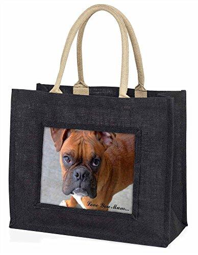 Advanta rot Boxer Dog Love You Mum Große Einkaufstasche/Weihnachtsgeschenk, Jute, schwarz, 42x 34,5x 2cm