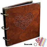 ADVcer Photo Album or DIY Scrapbook (10x10 inch 50 Pages Double Sided), Vintage Leather Cover Three-Ring Binder Picture Booth Albums with 6 Colors 306pcs Self Adhesive Photos Corners for Memory Keep