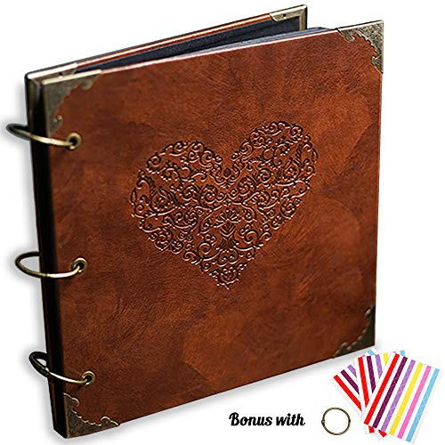 Scrapbook Custom Pages - ADVcer Photo Album or DIY Scrapbook (10x10 inch 50 Pages Double Sided), Vintage Leather Cover Three-Ring Binder Picture Booth Albums with 6 Colors 306pcs Self Adhesive Photos Corners for Memory Keep