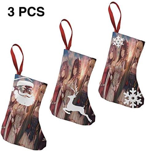 クリスマスの日の靴下 (ソックス3個)クリスマスデコレーションソックス かわいいゲームの女の子 クリスマス、ハロウィン 家庭用、ショッピングモール用、お祝いの雰囲気を加える 人気を高める、販売、プロモーション、年次式