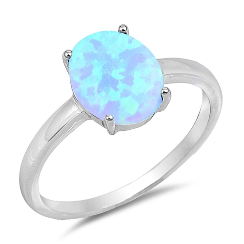 CloseoutWarehouse Oval Light Blue Simulated Opal Plain Band Ring Sterling Silver Size 10