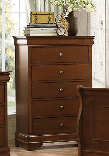 Metal Traditional Sleigh Bed - Homelegance Abbeville Five-Drawer Chest, Cherry