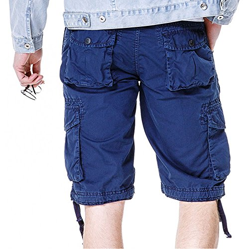 Men's Cotton Cargo Shorts Elastic Waist Loose Fit Pants Boys Summer Outdoor (32,Dark Blue) by MOACC (Image #1)