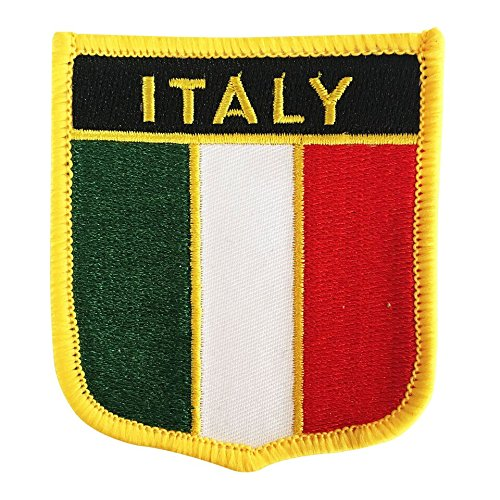 Italy Flag Emblem Embroidered Iron-On Patch for sports jerseys, backpags, and trading (Italian Crest, 2.75