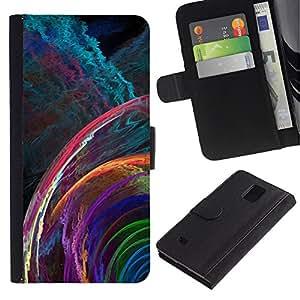 Paccase / Billetera de Cuero Caso del tirón Titular de la tarjeta Carcasa Funda para - svet cvet spiral uzor fraktal - Samsung Galaxy Note 4 SM-N910