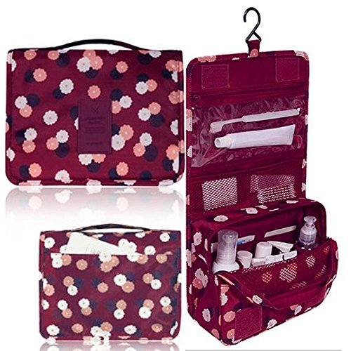 L&FY Multifunction Portable Travel Toiletry Bag Cosmetic Makeup Pouch Toiletry Case Wash Organizer ( Wine red)