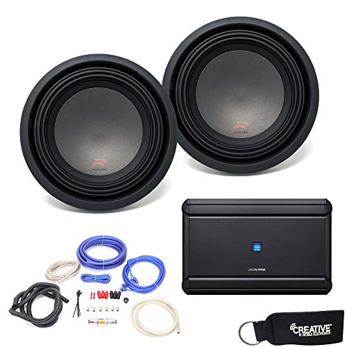 Alpine MRV-M1200 Amplifier, (2) R-W10D2 R-Series 10-inch Dual 2 Ohm Subwoofers - Includes Wire kit