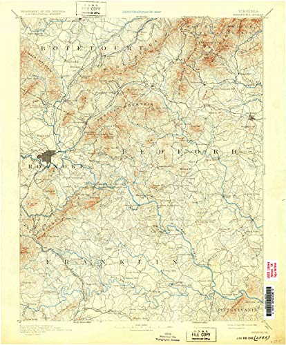 - YellowMaps Bedford VA topo map, 1:125000 Scale, 30 X 30 Minute, Historical, 1891, Updated 1932, 19.9 x 16.5 in - Paper
