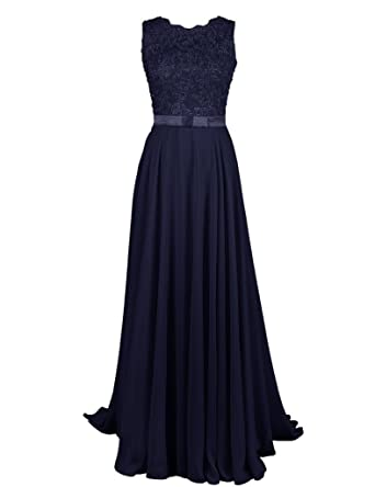 Shiningdresses Womens Fashion Applique Chiffon Long Prom Dress UK20 Navy Blue