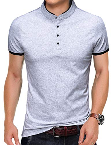 (KUYIGO Men's Casual Slim Fit Shirts Pure Color Short Sleeve Polo Fashion T-Shirts Small Light Grey)
