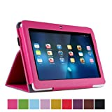 """Eforcase PU Folio Leather Slim 7inch Tablet Protective Cover Case with Stand for 7"""" Dragon Touch A13 Q88,Y88,Zeepad,Chromo,FastTouch,Alldaymall,Noria Jr,Noria T2, Matricom Tab Nero, Tagital with Dual Camera Tablet PC (Hot Pink)"""