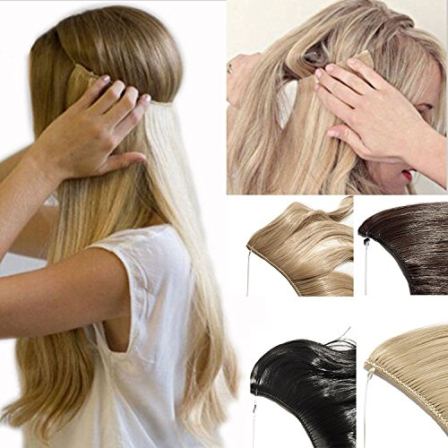 "2-5 Days Delivery Best Synthetic Hair Extensions 20"" Curly Straight Full Head Invisible Wire Secret String No Clips in Hair Extensions Secret Fish Line Hairpieces (Curly, sandy blonde & bleach blonde)"