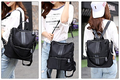 S Girls Shoulder Bag Fashion Backpack School Lightweight Rucksack Travel Polyester zone Women Black black Nylon Casual 4r4Tqn