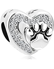 Charmed Craft Heart Love Pet Cat/Dog Paw Print Charm Beads for Charm Bracelets