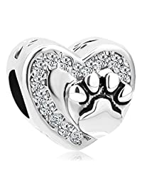 Charmed Craft Heart Love Pet Cat / Dog Paw Print Charm Beads For Charm Bracelets