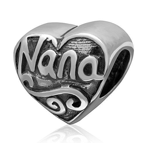 Love NaNa Charm 925 Sterling Silver Heart Beads fit Women Charms Bracelets