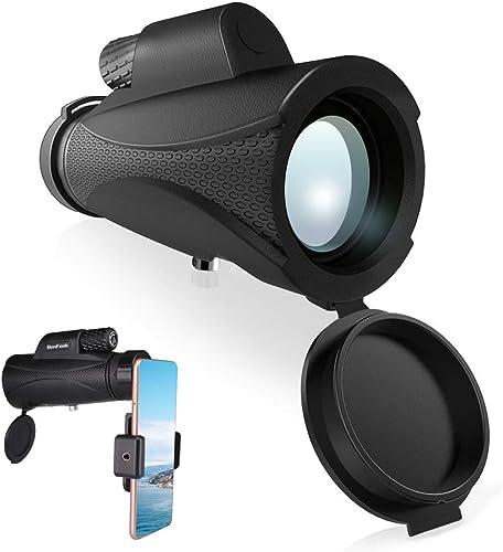 BonFook Optics Titan 10×42 HD Portable Monocular Telescope High Powered,Optimal Brightness and Clarity,One Hand Focus,Waterproof Fogproof for Bird Watching, Nature Watching, Hunting