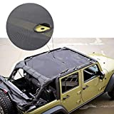 Rupse 4 Door Jeep Wrangler Durable Strong Mesh Sunshade for 4-Door Jeep Wrangler, Spider Web Shade Jkini, Full Top Sun Shade Mesh Shade Cover UV Protection Bikini top Cover net