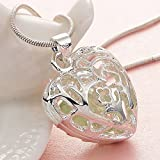 Sumanee Fashion Women 925 Silver Heart Hollow Peridot Pendant Necklace Chain Wedding