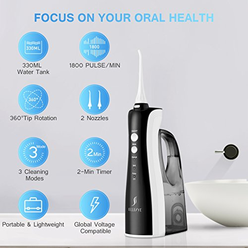 [UPGRADED] 330ML Cordless Water Flosser Teeth Cleaner, ELLESYE High Pulse Rechargeable Portable Oral Irrigator for Travel & Office Use, IPX7 Waterproof Dental Flosser for Shower with 2 Tips for Family by ELLESYE (Image #2)