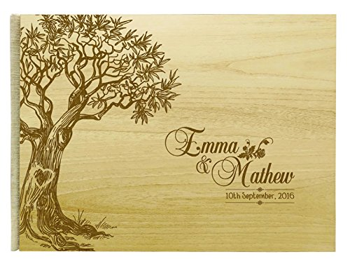 Handmade Rustic Wedding Wood Wooden Guest Book Personalized Name Engraved Bride & Groom Advice Book, Tree - 50 Pages