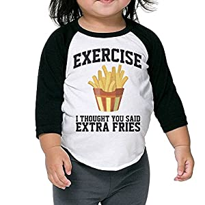 WQ UNIQUE Children I Thought You Said Extra Fries Tri-Blend 3/4 T Shirts Youth Slim Fit