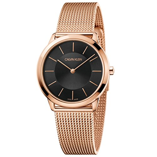 Calvin Klein Women Minimal watch K3M2262Y pink gold steel black dial